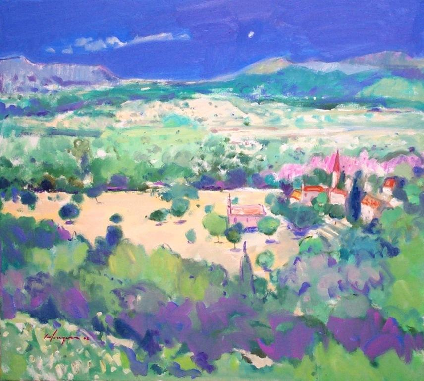 Majorcan Landscape by Joe Hargan Oil 40 x 36 inches Sold
