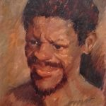 Pigmy man oil on board 14 x11 inches. painted when joe was 16