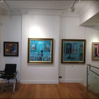 Red Rag Gallery, Bath - display of Joe Hargan's paintings